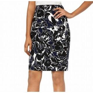 Kasper Blue Women's Size 16P Petite Floral Straight Pencil Skirt