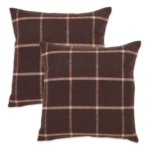 Plaid Design Flannel Throw Pillow Cover (Set of 2)