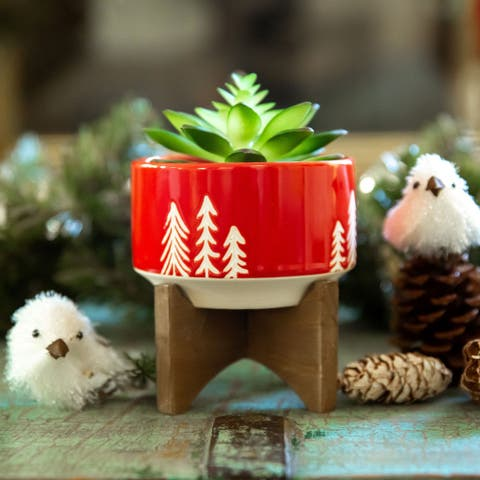 """4"""" Christmas Ceramic on Wood Stand"""