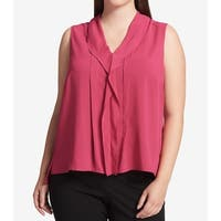 Calvin Klein Pink Womens Size 1X Plus V-Neck Ruffle-Front Blouse