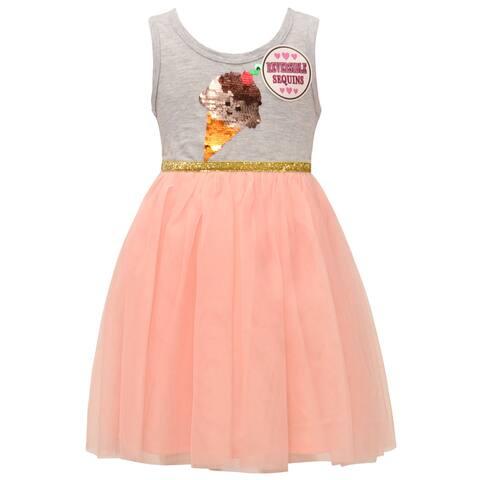 Little Girls Gray Blush Mesh Sequin Ice Cream Cone Sleeveless Easter Dress