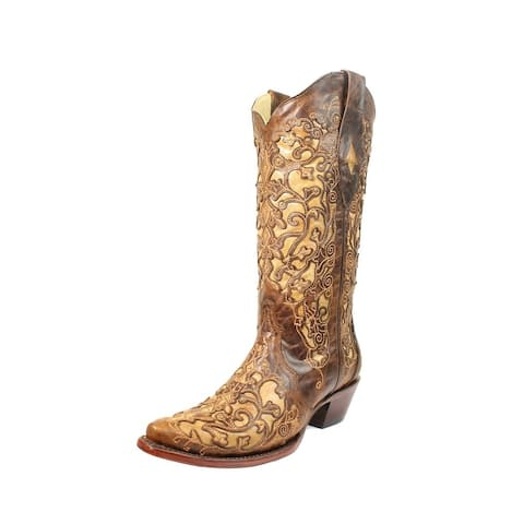 Corral Western Boots Womens Leather Cowboy Inlay Snip Toe Brown