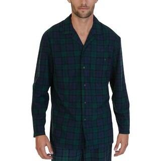 Nautica Sleepwear Mens Pajama Top/Nightshirt Fleece Plaid