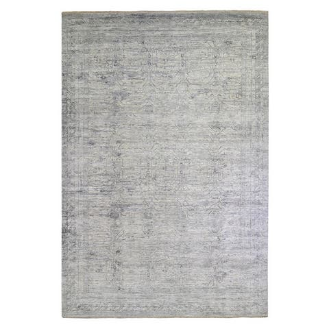 """Shahbanu Rugs Gray Washed Out Pure Silk with Erased Samarkand Pomegranate Design Hand Knotted Oriental Rug (9'10"""" x 14'0"""")"""