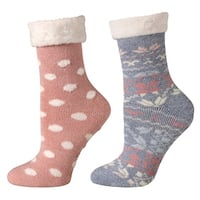 Womens Socks - Cabin and Lounge Print with Rubber Soles - Set of 2 Pink - One size