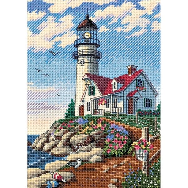 "Gold Petite Beacon At Rocky Point Counted Cross Stitch Kit-5""X7"" 18 Count"
