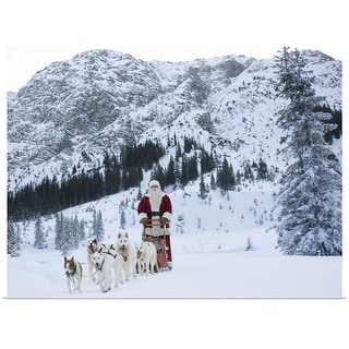 """A team of Husky dogs pulling Santa Claus and his sleigh"" Poster Print"