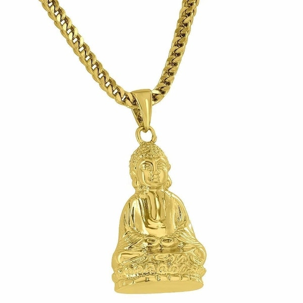 Mens Designer Buddha Pendant 18K Gold Finish Free 24 Inch Stainless Steel Franco Chain On Sale
