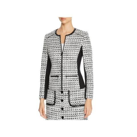 Karl Lagerfeld Womens Tweed Jacket Wool Textured