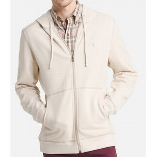 G.H. Bass & Co. Heather Beige Mens Size XL Full Zip Hooded Sweater