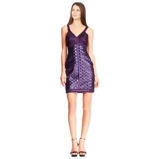 Sue Wong Sequined Beaded V-neck Sleeveless Sheath Cocktail Dress - 2