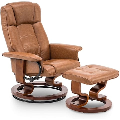 Mcombo Swiveling Recliner Chair with Wood Base and Ottoman 9019