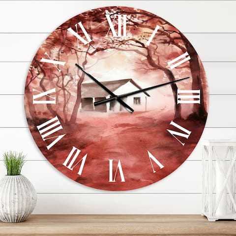 Designart 'House In Red Autumn Woods' Cabin & Lodge wall clock