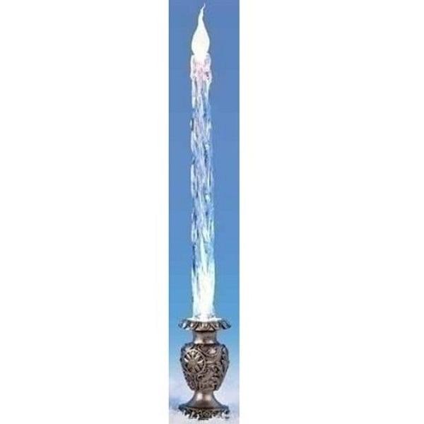 "15"" Icy Crystal Blue LED Icicle Candle with Botanical Silver Base"