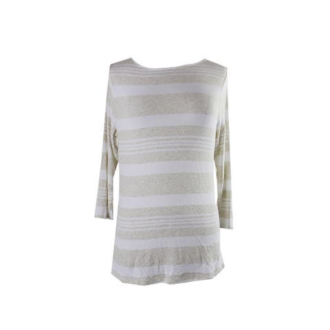 Inc International Concepts Beige White Striped Ribbed T-Shirt 0X
