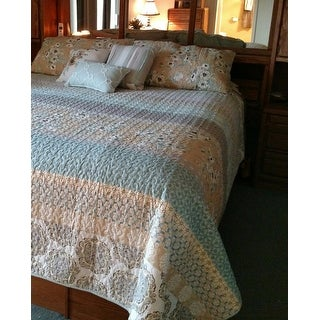 Copper Grove Burwell Quilted Green Coverlet Set