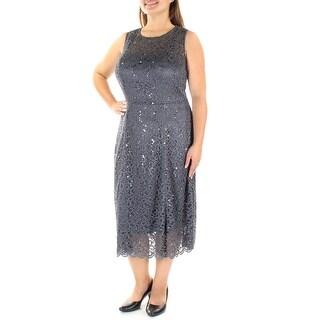 Womens Gray Sleeveless Tea-Length Fit + Flare Formal Dress Size: 16