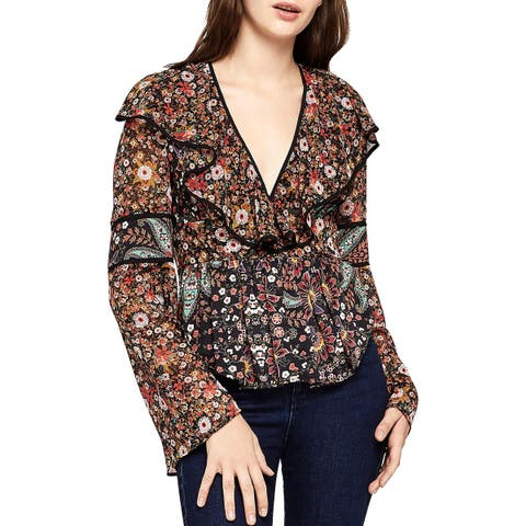 BCBGeneration Womens Blouse Ruffled Floral Print