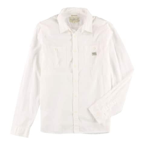 Ralph Lauren Mens Two-Pocket Button Up Shirt, White, Small