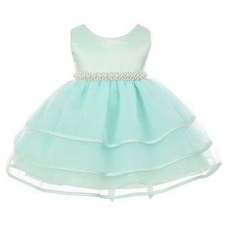 Chic Baby Girl Mint Organza Pearl Sash Triple Layer Flower Girl Dress