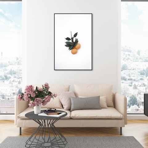 Oliver Gal 'Minimalist Orange' Food and Cuisine Wall Art Framed Canvas Print Fruits - White, Orange
