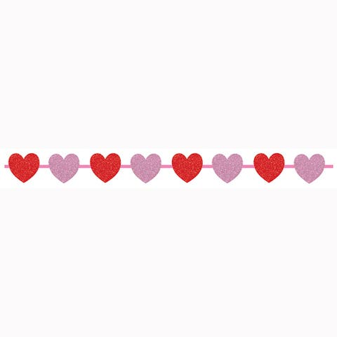"""Club Pack of 12 Red and Pink Valentine Ribbon with Glitter 7"""""""