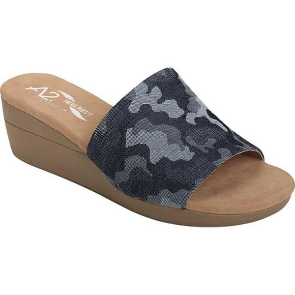 401d205ccc A2 by Aerosoles Women's Sunflower Slide Sandal Denim Camo Printed Fabric