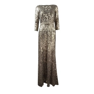 Tadashi Shoji Women's Belted Sequined Embroidered Lace Gown