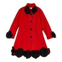 Girls Red Black Flower Rosette Trim Collar Coat