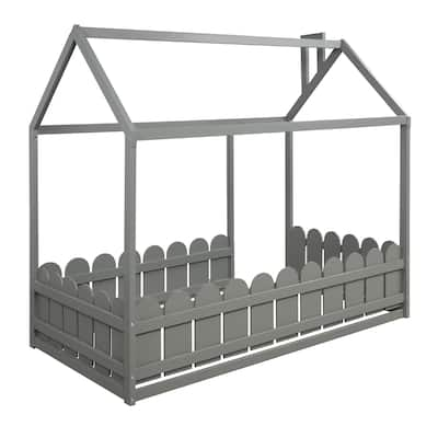 Twin Pine Wood House Bed with Fence, for Kids,Teens,Girls,Boys (Grey)