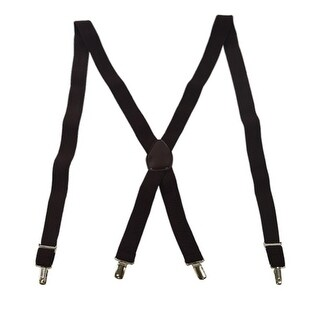 Men's Brown X-back Style Silver Toned Metal Fancy Clip-ends Suspenders - One Size Fits most
