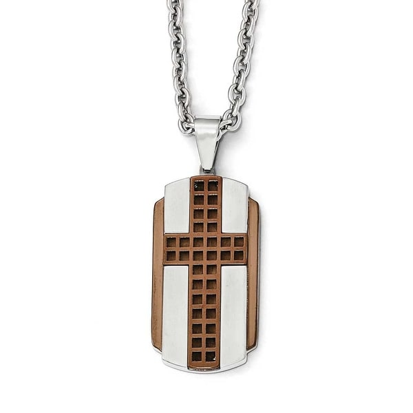 Chisel Stainless Steel Brushed & Polished Brown IP-Plated Cross Necklace - 24 in