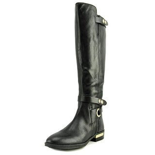 Vince Camuto Prini Wide Calf Women  Round Toe Leather Black Knee High Boot