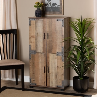 Link to Cyrille Modern and Contemporary Farmhouse Rustic 4-Door Shoe Cabinet Similar Items in Kitchen Carts