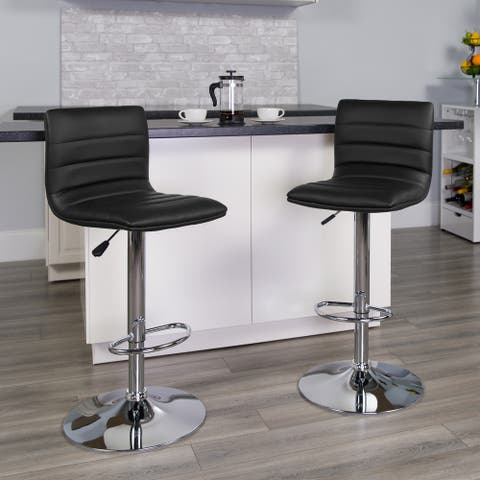 "Modern Vinyl Adjustable Height Barstool with Horizontal Stitch Back - 16""W x 19""D x 35"" - 44""H"