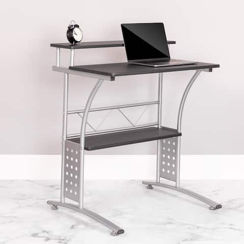 Computer Desk with Top and Bottom Storage Shelves