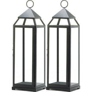 2 Extra Tall Black Contemporary Lanterns