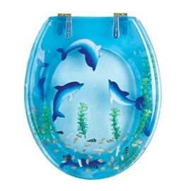 Polyresin Toilet Seat Dolphin Swim Standard Round Brass