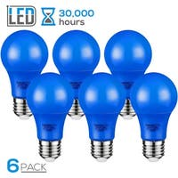 TORCHSTAR 7W Blue LED A19 Colored Light Bulb, E26/E27 Base,30,000hrs, Pack of 6
