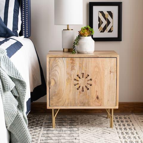 Safavieh Flora Modern Natural Wood Storage Nightstand