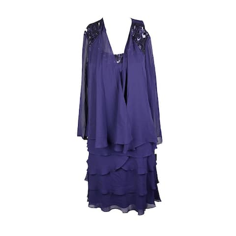 Slny Sapphire Sleeves Sequin Chiffon Layered Dress and Jacket 10