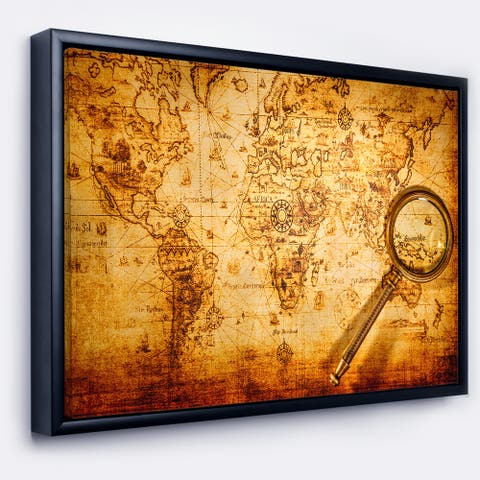 Designart 'Magnifying Glass on World Map' Abstract Framed Canvas Art Print
