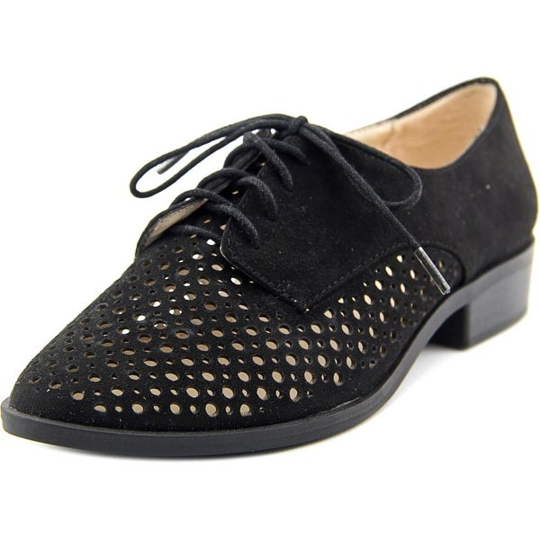 Bar III Gesley Women Round Toe Suede Black Oxford