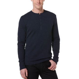 Perry Ellis Mens Big and Tall Navy Blue Long Sleeve Henley Shirt