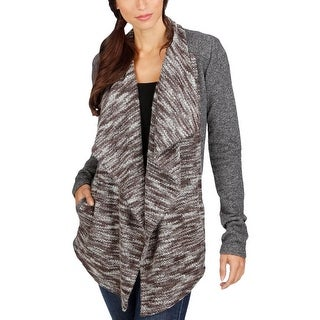 Lucky Brand Womens Cardigan Sweater Mixed Media Marled