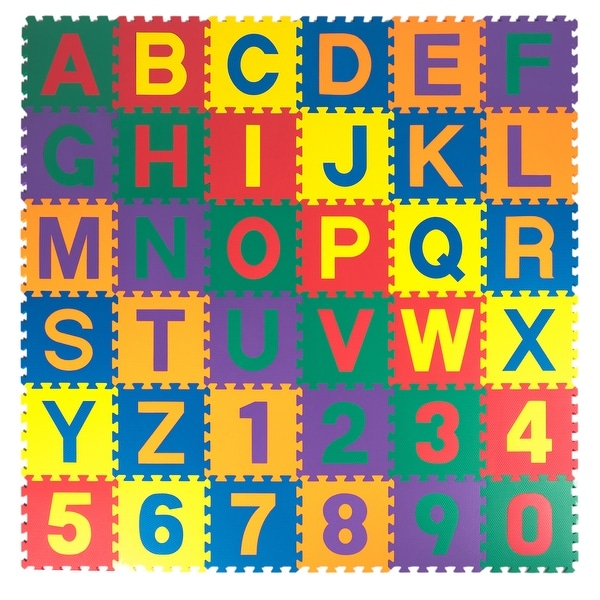 Kidzone Kids Foam Play Alphabet ABC Plus Numbers Puzzle Mat Non-Toxic Extra Thick, 36 Piece