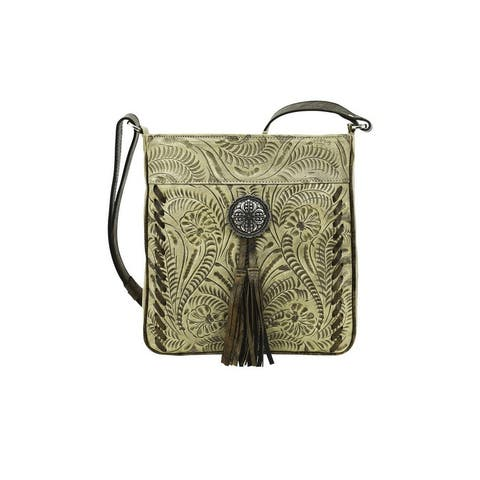 American West Western Messenger Bag Womens Lariats & Lace Sand - 10 x 10.5 x 2.5