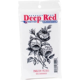 "Deep Red Cling Stamp 2""X3.2""-English Rose"