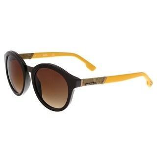 Diesel DL0090 48B Dark Brown Round Sunglasses - dark brown
