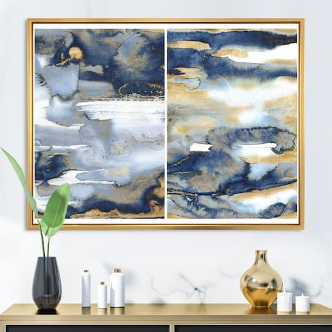 Designart 'Dark Blue and Gold Abstract II' Modern Framed Canvas Wall Art Print